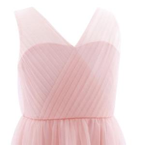 Image 5 - TiaoBug robe plissée en maille pour filles, coupée dans le dos, à fleurs, longueur au sol, épissure sur les épaules, sans manches, robe de soirée de mariage, 2020