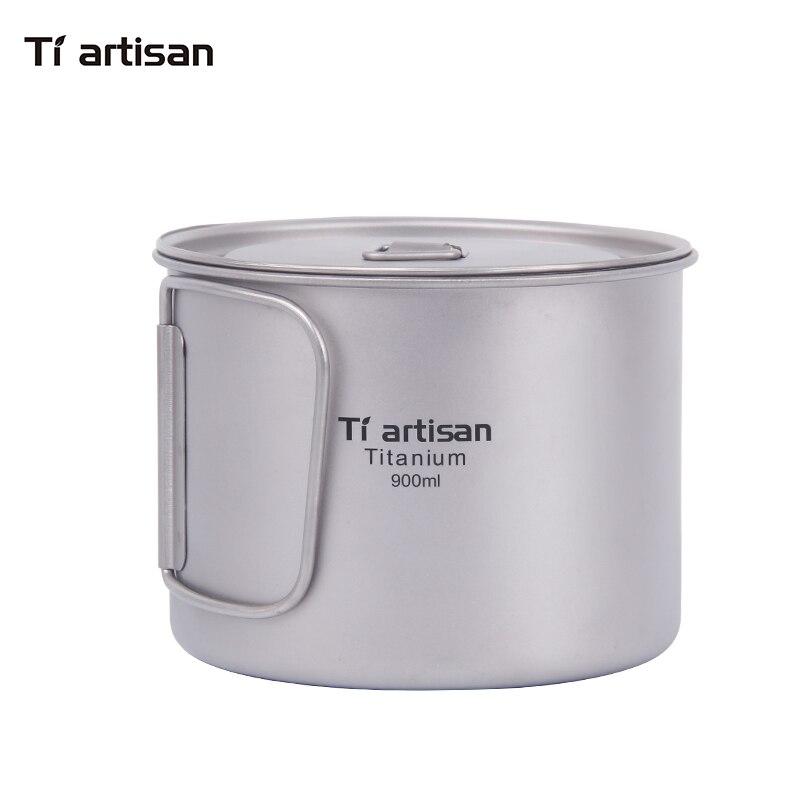Tiartisan 900 ml pur titane Pot extérieur Camping ultra-léger titane bol avec couvercle plus grande capacité pique-nique ustensiles de cuisine Ta8316A