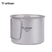 Tiartisan 900ml Pure Titanium Pot Outdoor Camping Ultralight Bowl with Cover larger Capacity Picnic Cookware