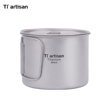 Tiartisan 900ml Pure Titanium Pot Outdoor Camping Ultralight Titanium Bowl with Cover larger Capacity Picnic Cookware keith 550ml titanium bowl ultralight camping travel tableware single wall and double wall pure titanium bowls for choose
