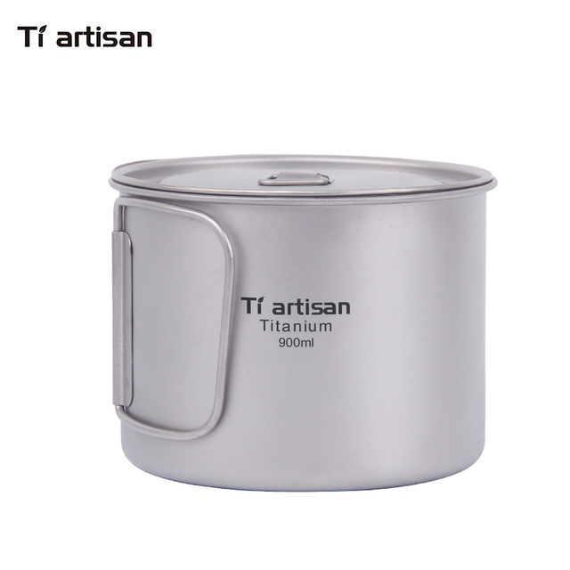 Tiartisan 900ml Pure Titanium Pot Outdoor Camping Ultralight Titanium Bowl with Cover larger Capacity Picnic Cookware Ta8316A