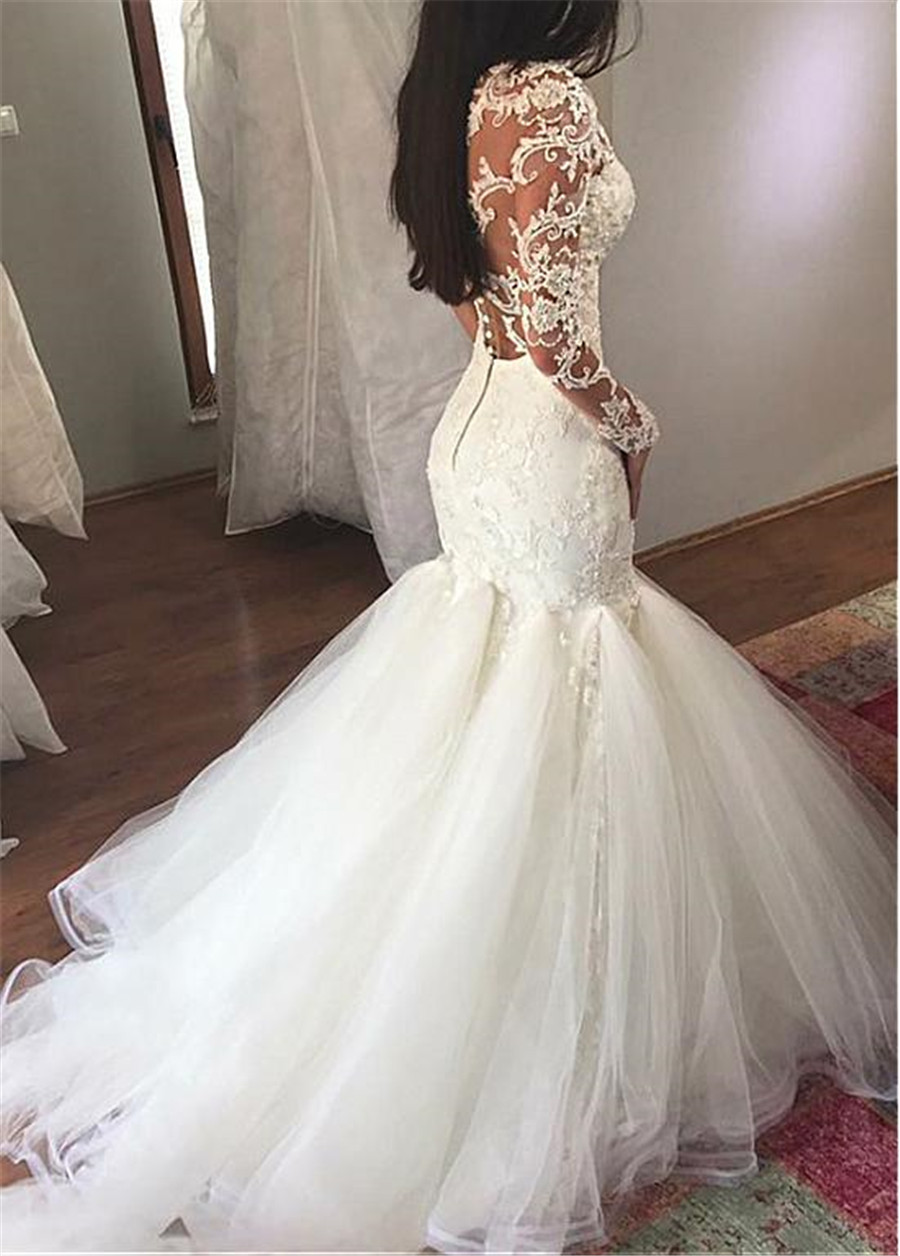Ivory White Tulle Sheer Scoop Neckline Mermaid Wedding Dress With Lace Appliques  Wedding Dress Robe De Mariee Bohe Long Sleeves