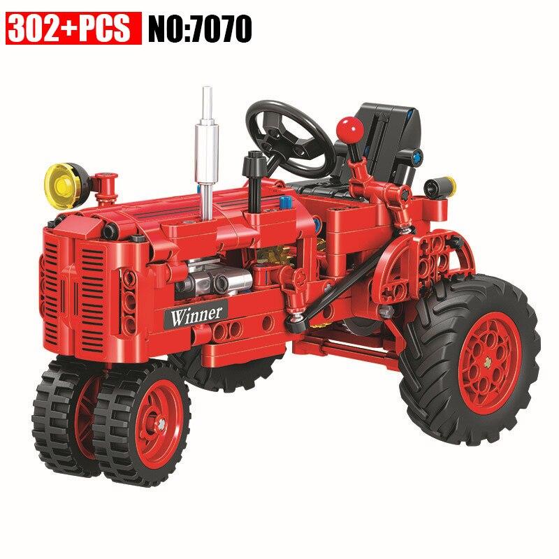 Gewinner 7070 302 stücke Technik Klassische Klassischen Alten Traktor gebäude block DIY Pädagogisches Ziegel Spielzeug für kinder Lustige Geschenk