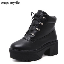 lace up Boots 2019 Fashion Thick Heel Ankle Boots Women High Heels Autumn Winter shoes women snow boots platform shoes YMA482 недорого