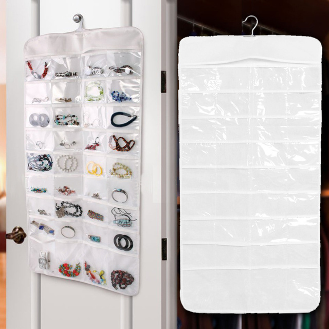 72 Pockets Double Sided Jewelry Hanging Storage Bags Necklace