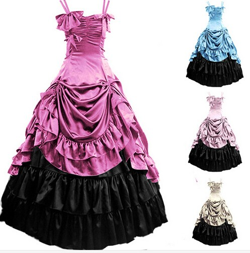 (GT021) Womens Sleeveless Party Cosplay Costume Satin Gothic Lolita Ball Gown Costumes Victorian Dress Customized