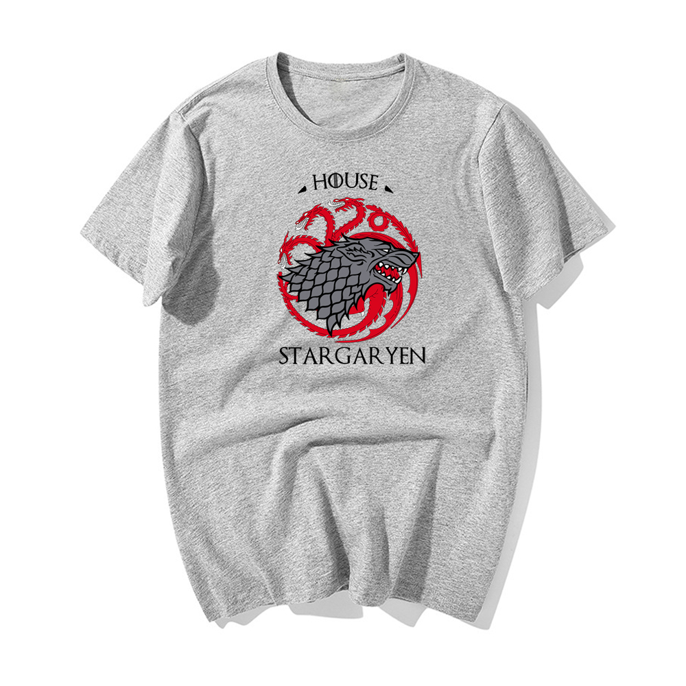 Game Of Thrones Vintage T Shirts House STargaryen Fire Blood Ice Redwolf Tops 2019 New Summer Tees Cotton O Neck T Shirt in T Shirts from Men 39 s Clothing