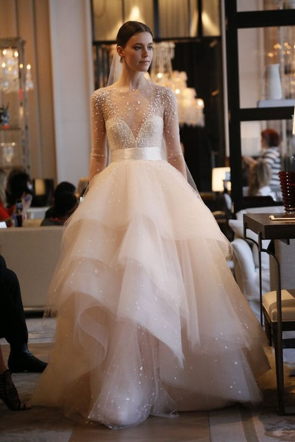 IMH110 Luxury Designer Ball Gown Wedding Dress Crystal Beaded Ruffle ...