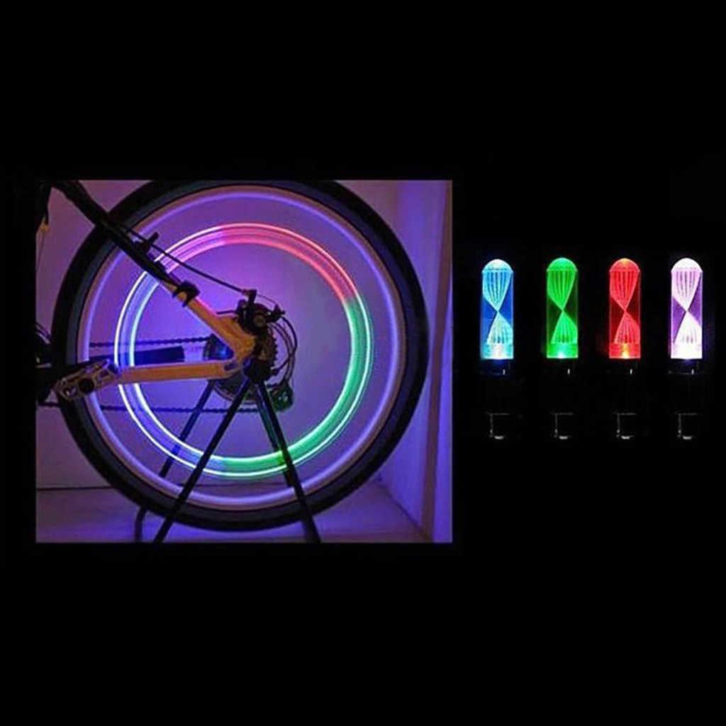 Luz da noite 7 cores decoração da bicicleta led luz acessórios da bicicleta pneu lâmpada 2 pcs alimentado por 3 substituíveis ag10 botão baterias