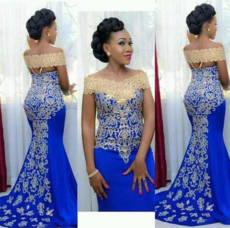 Royal Blue Prom Dresses Mermaid Cap Sleeves Satin Lace Party Maxys Long Prom Gown Evening Dresses Robe De Soiree
