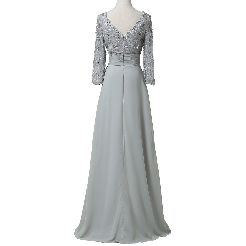 Grace Karin Chiffon Lace Mother of the Bride Dresses 3/4 Sleeve Double V Neck Floor Length Grey Beading Formal Mother Prom Dress 10