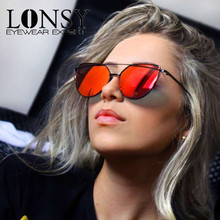 LONSY New Women 9 Colour Luxury Cat Eye Sunglasses Women Brand Designer Fashion Twin-Beams Rose Gold Mirror Sun Glasses Female