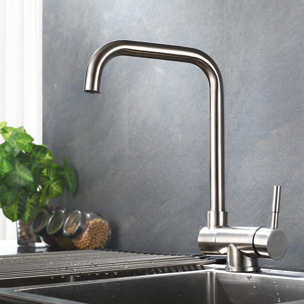 Sus304 Stainless Steel Kitchen Faucets Brushed Mixer Water: Kitchen Faucet SUS 304 Stainless Steel Brushed Nickle