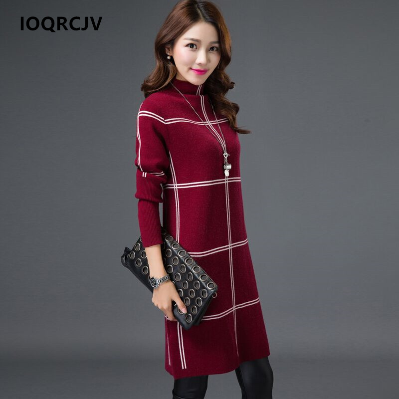 Spring Female Sweater Winter 2018 Women's Turtleneck Sweaters and Pullovers Swetry Long Lattice Skirt Plus Size 3XL IOQRCJV F67