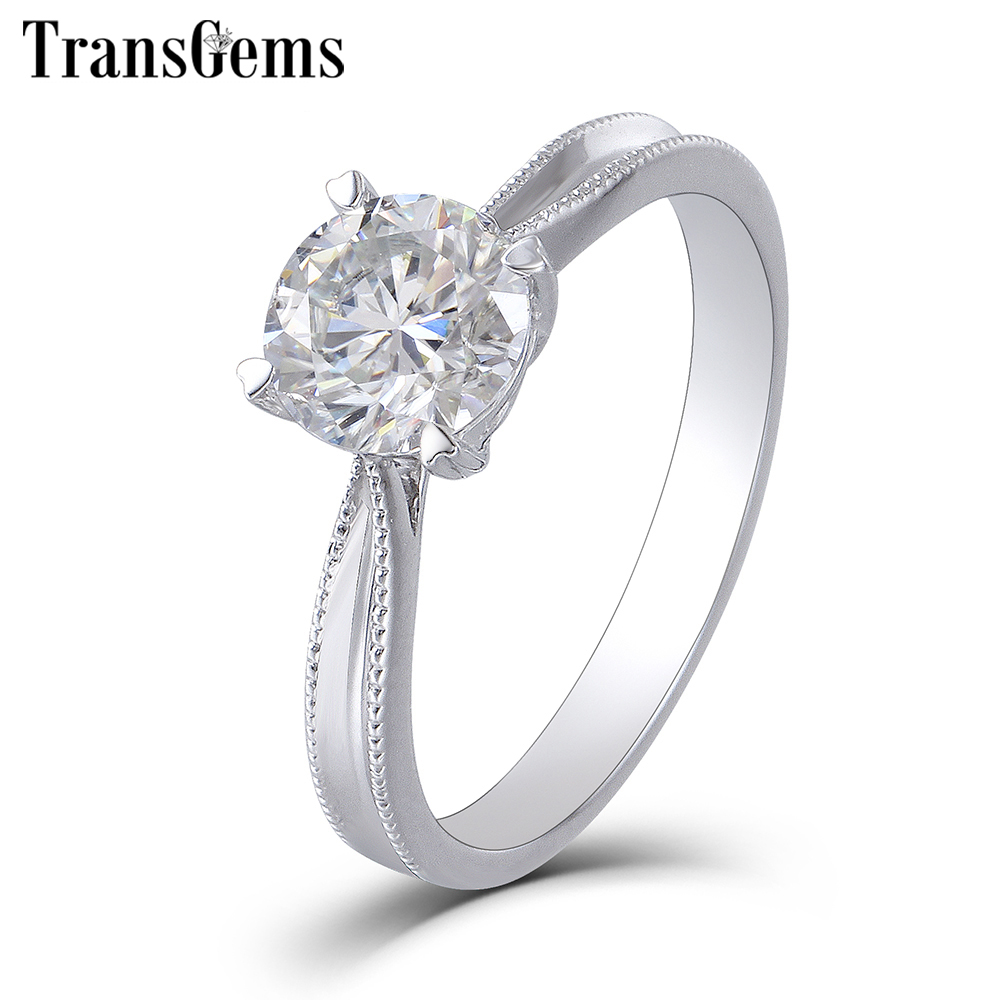 TransGems Solid 14K 585 White Gold Moissanite Engagement Ring for Women 1ct Carat F Color Moissanite Ring Wedding Fine Jewelry in Rings from Jewelry Accessories