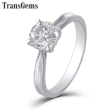 TransGems Solid 14K 585 White Gold Moissanite Engagement Ring for Women 1ct Carat F Color Moissanite Ring Wedding Fine Jewelry цена в Москве и Питере