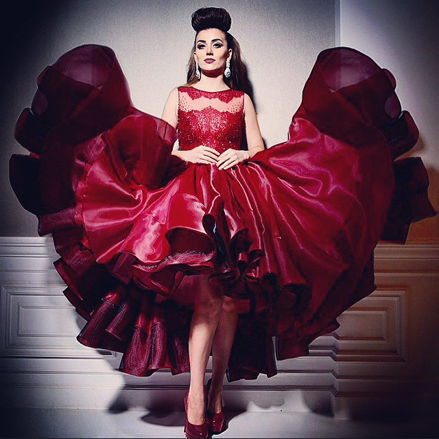 Sexy Burgundy Ball Gown Prom Dresses 2015 Arabic Star Myriam Fares High Low Prom Dress Crew Neck Few Layer Skirt Party Gowns in Prom Dresses from Weddings Events