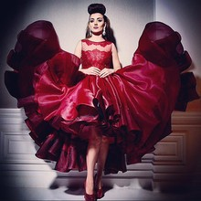 Sexy Burgundy Ball Gown Prom Dresses 2015 Arabic Star Myriam Fares High Low Prom Dress Crew Neck Few Layer Skirt Party Gowns недорого