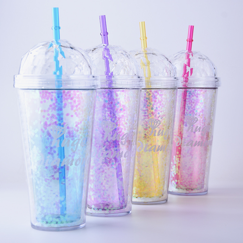 520ml My Bottle Glitter Sequins Plastic Sports Straw Water Bottle With Diamond Shape  Eco-friendly With Lid Straw Water Bottle