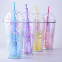 520ml My Bottle Glitter Sequins Plastic Sports Straw Water Bottle with