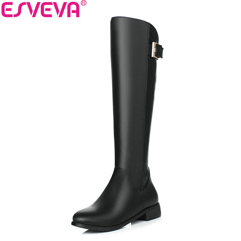 ESVEVA 2018 Buckle Women Boots Round Toe Western Style Low Heel Knee-high Boots Zippers Short Plush Ladies Boots Size 34-40 nikove 2018 women boots western style high heel over the knee boots round toe spring and autumn fashion ladies boots size 34 39