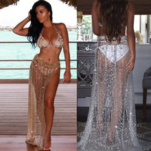 Rhinestone and Sequin See Through Side Split Skirt