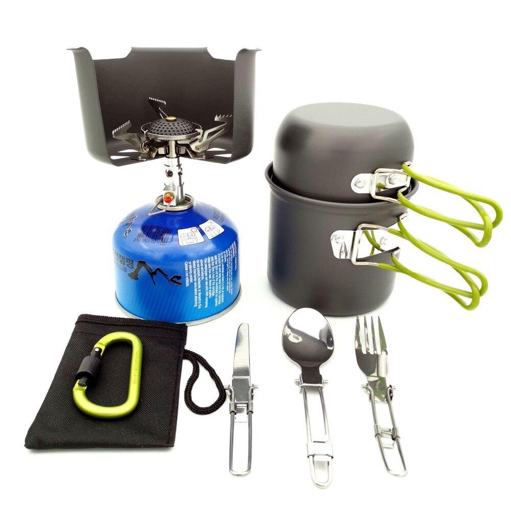 Ultra light Camping Cookware Set Windproof Cookware Outdoor Pan Pot Cooking Travel Picnic Set