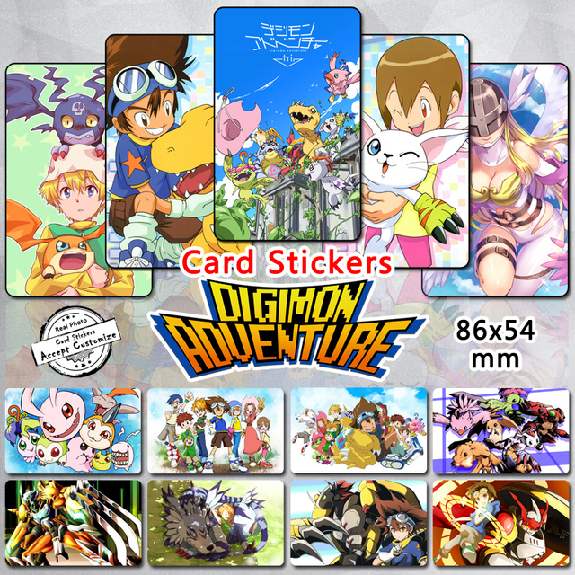 35pcs digimon adventure card stickers classic anime digital monster tri childhood memory taichi omnimon glossy cartoon
