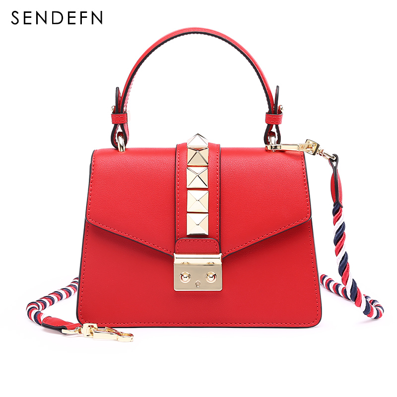 Fashion Small Style Bag Rivet Split Leather Lady Shoulder Bag Special Colorful Strip Women Handbag Tote&Crossbody Bag Phone Pock