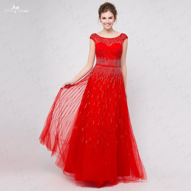 RSE295 Boat Neckline Low Back Cap Sleeves Beaded Lines Prom Dress In stock  Long Red Evening Dress 54ceea1a56c3