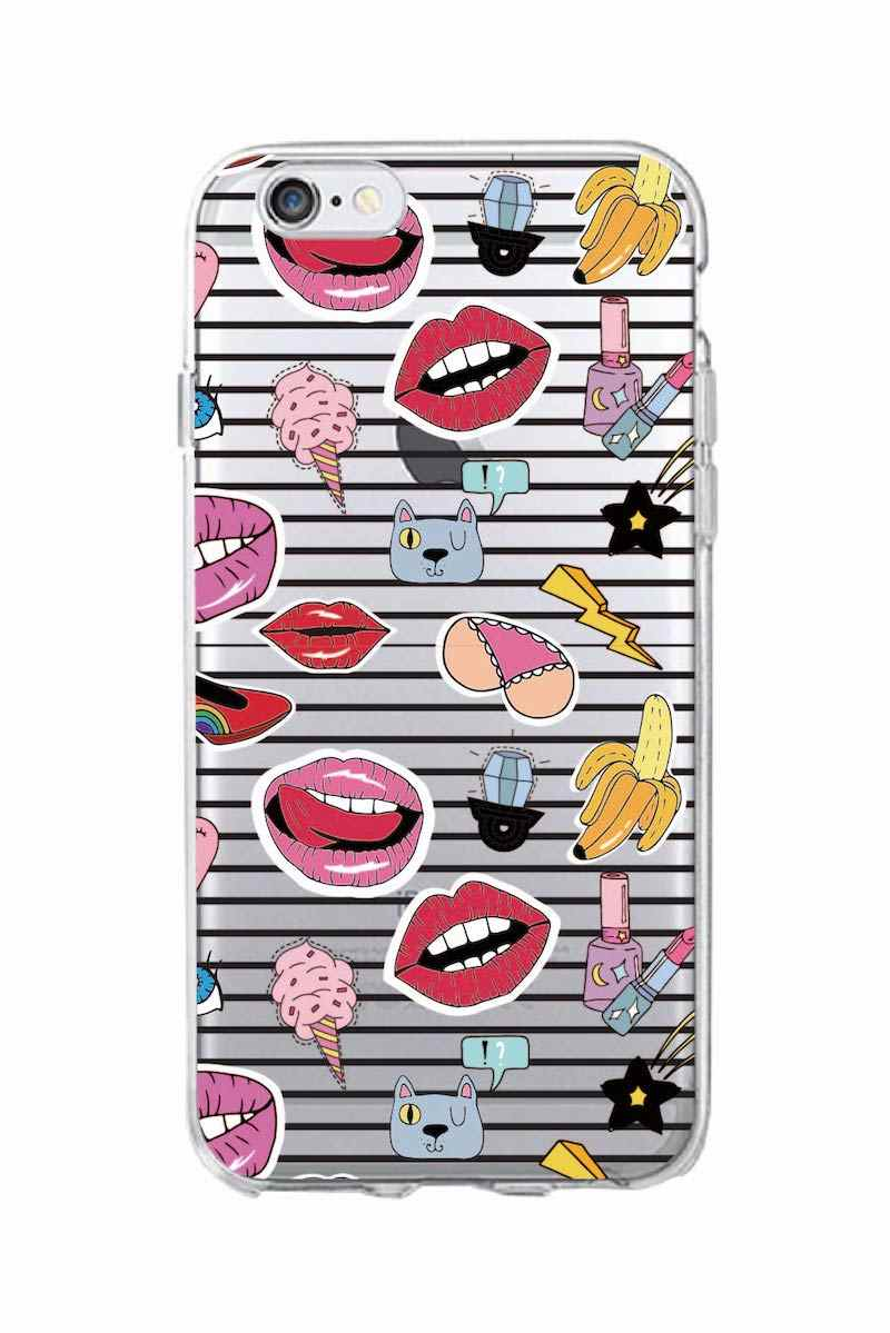 wholesale dealer 575c6 ecfa4 For 7 7Plus 6 6S 5 S8 8Plus X XS Max SAMSUNG S8 Stickers Style Cute Coin  Lips Lipsticks Cosmetics Soft Clear Phone Case Fundas