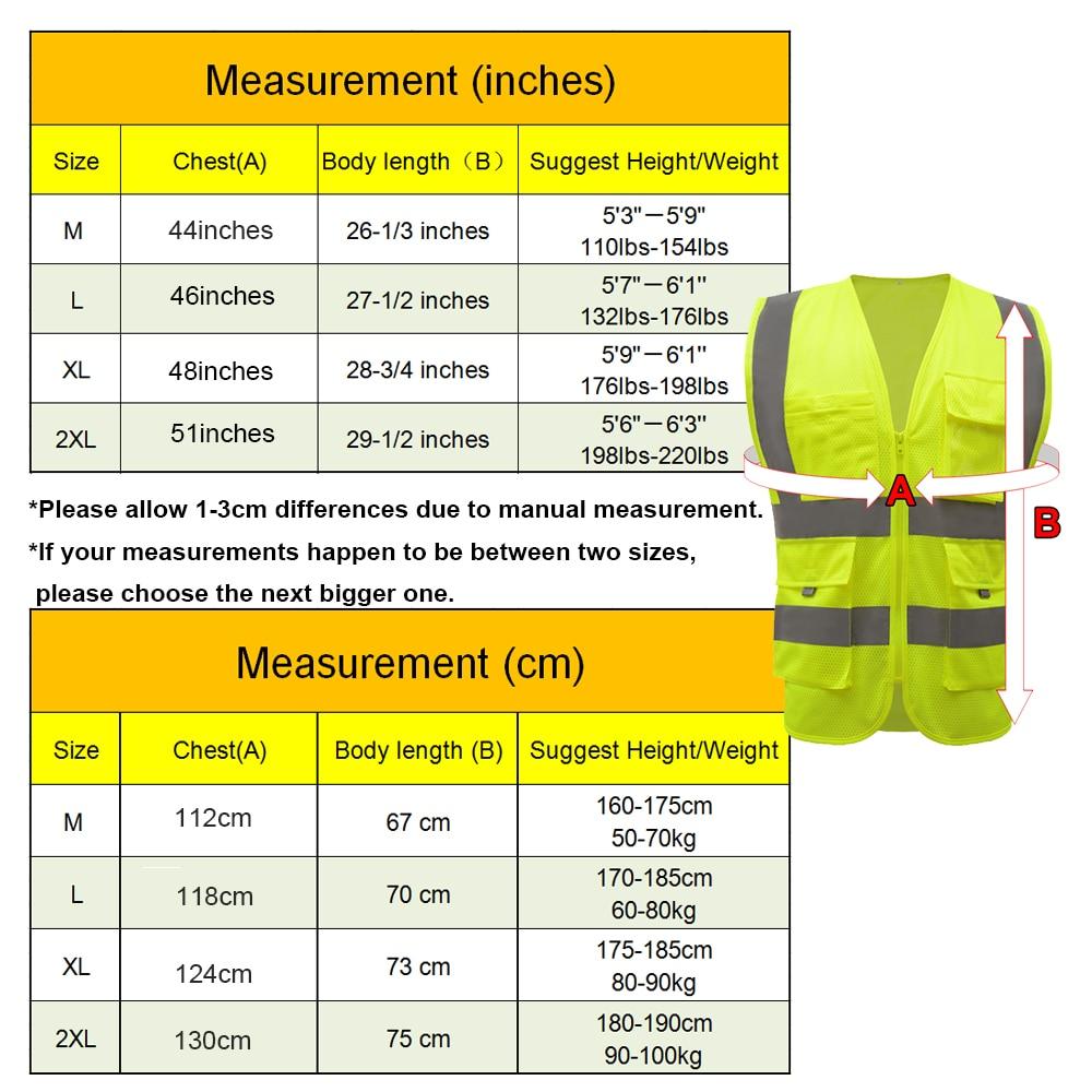 size chart of yellow