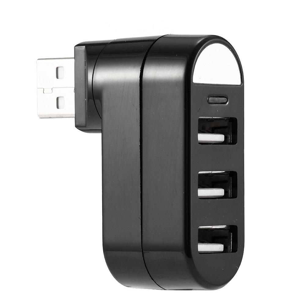 New 3 Port USB 2.0 Rotating Splitter Adapter Hub For PC Laptop Notebook Mac Mini