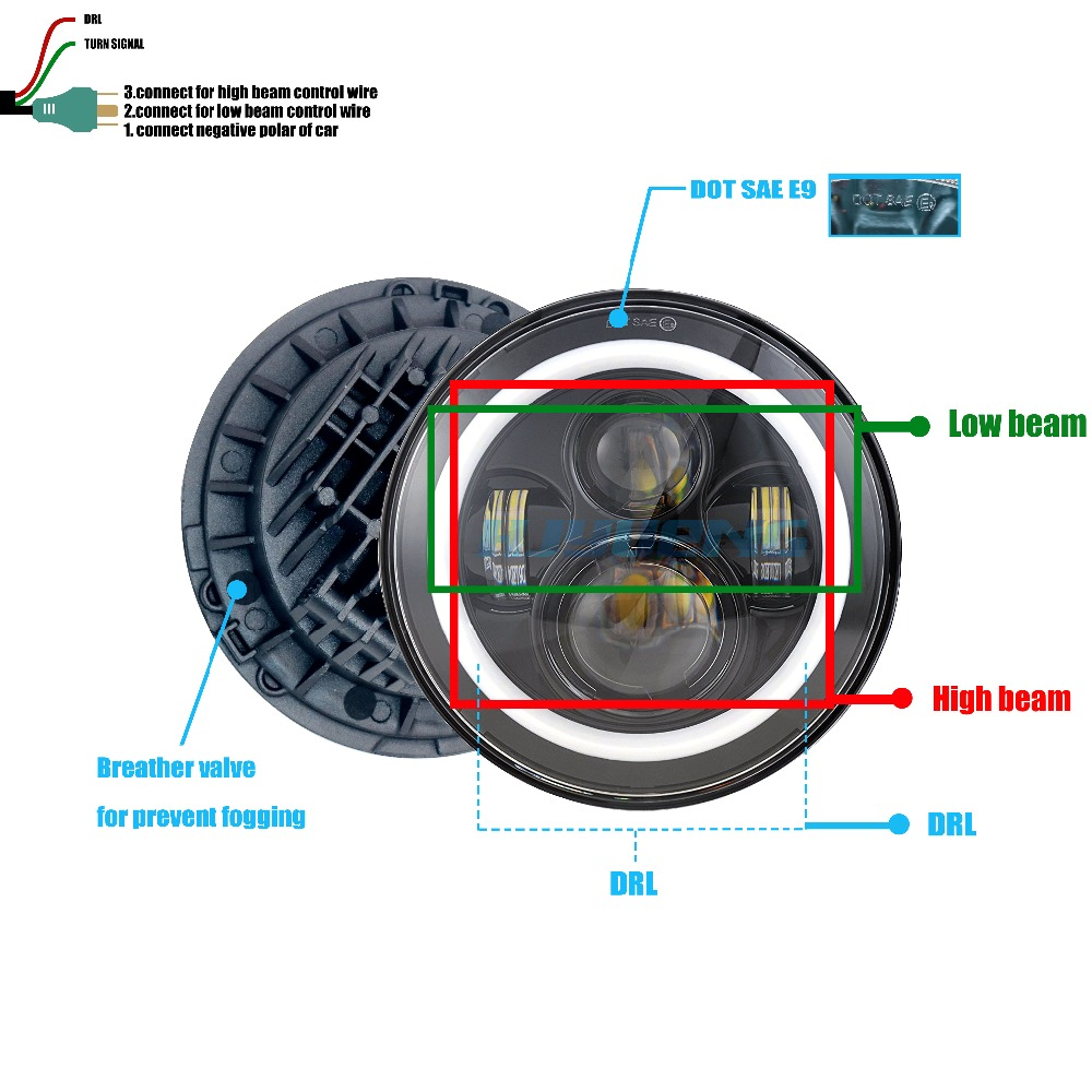 US $52.66 |HJYUENG 45W For Jeep Wrangler 7Inch LED Headlight Projector on