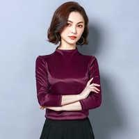I02285 Vrouw mode 2019 ruche blouse zijden blouse vrouwen top