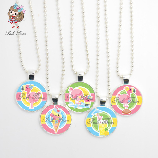 Flamingo Animal Necklace Handmade Girl Jewelry Glass Cabochon Trendy Cute Party Favors Birthday Gift For