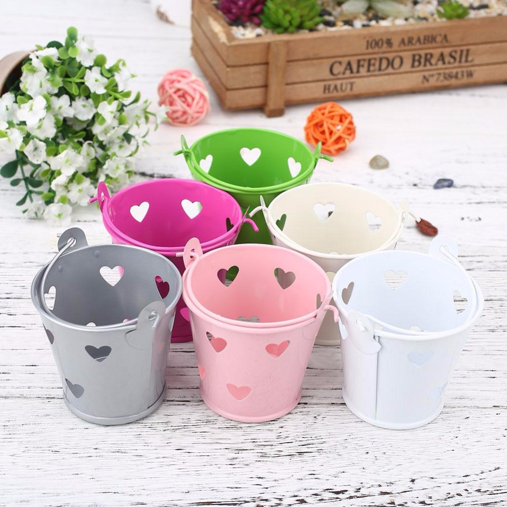 Hollow Mini Flower Pot Metal Barrel Plant Pot Vertical Garden Pots Balcony Decorations Bonsai Macetas Pot De Fleur Free Shipping