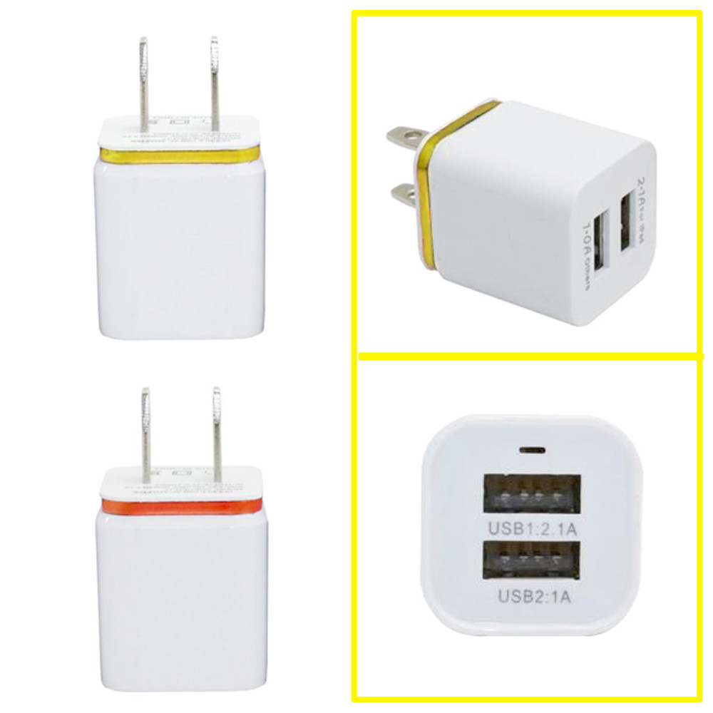 Home Travel Dual Port AC USB Wall US plug Charger 5V 1.0A/2.1A 10W for iPhone for Samsung Galaxy cameras, IPAD, MP3 players