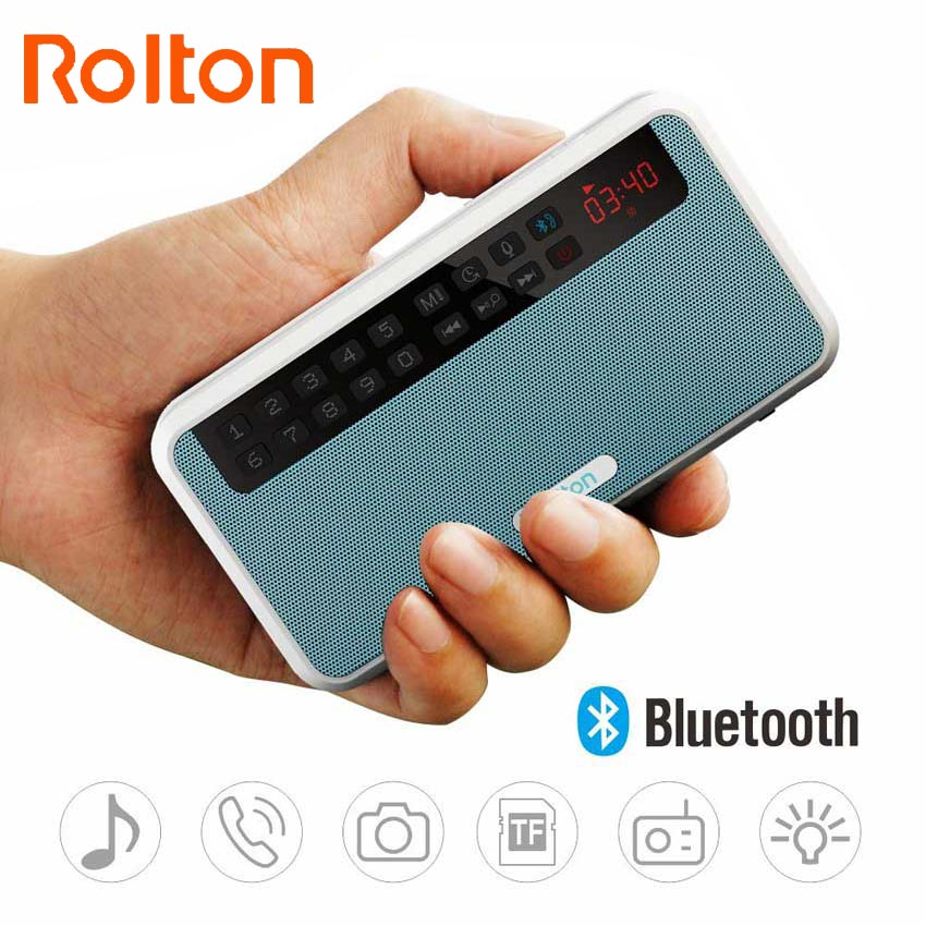 Rolton E500 Portable Stereo Bluetooth Speakers FM Radio Clear Bass Dual Track Speaker TF Card USB Music Player And Flashlight mllse portable mini stereo super bass mp3 speaker sd tf usb fm radio music player tdv26 inserted udisk card speaker radio player