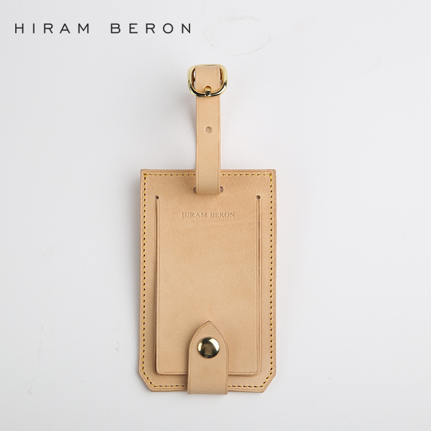 hiram beron leather luggage tags bag parts travel accessories suitcase tag business bag tags. Black Bedroom Furniture Sets. Home Design Ideas