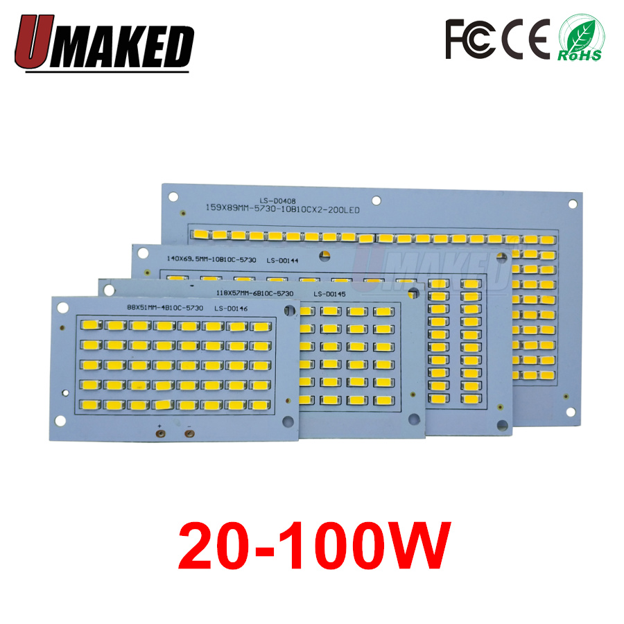 100% Full Power LED Floodling PCB 20W 30W 50W 70W 100W SMD5730 Led PCB Board,Aluminum Plate For Led Floodlight