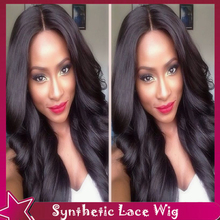 New Beauty Hair Wigs Synthetic Lace Front Wig Black Fiber Hair Products Body Wave Cheap Wig Middle Part Style No Lace Front Wigs