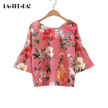 La-Tee-Da!2017 New Striped Blouses Women Striped Shirts Lady Fashion Casual Print Blouses Female Backless Bandage Shirts Vestido
