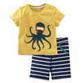 new fashion 2017summer short sleeve pre-school 2y 3y 4y 5y 6y 7y children clothes set octopus costume baby boys clothing sets