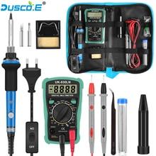 EU/US 60W Temperature Electric Soldering Iron Kit Digital Multimeter Tweezers Solder Welding Repair Tools Soldering Stand Tips