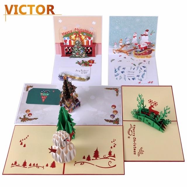 Molto 1 pz Cartoline di Natale 3D Pop Up Biglietti di Auguri Fatti A  NJ94