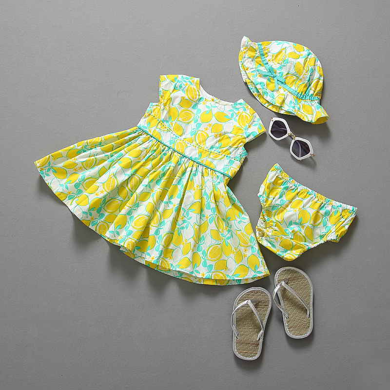 (live photo) summer style baby clothing set dress+shorts+ free summer hat and girls clothes baby girl clothes