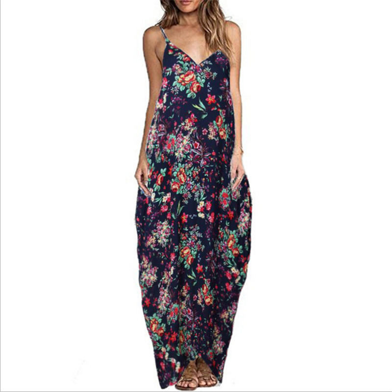Print Floral Loose Boho Bohemian Beach Dress Women Sexy Strap V-Neck Retro Vintage Long Maxi Dress Summer 2018 Plus Size 3XL 2