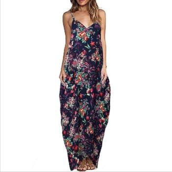 Print Floral Loose Boho Bohemian Beach Dress Women Sexy Strap V-Neck Retro Vintage Long Maxi Dress Summer 2018 Plus Size 3XL 2