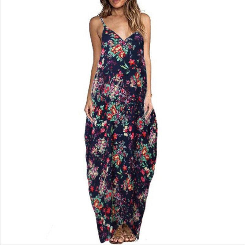 Εκτυπώστε Floral Loose Boho Bohemian Beach Φόρεμα - Γυναικείος ρουχισμός - Φωτογραφία 3